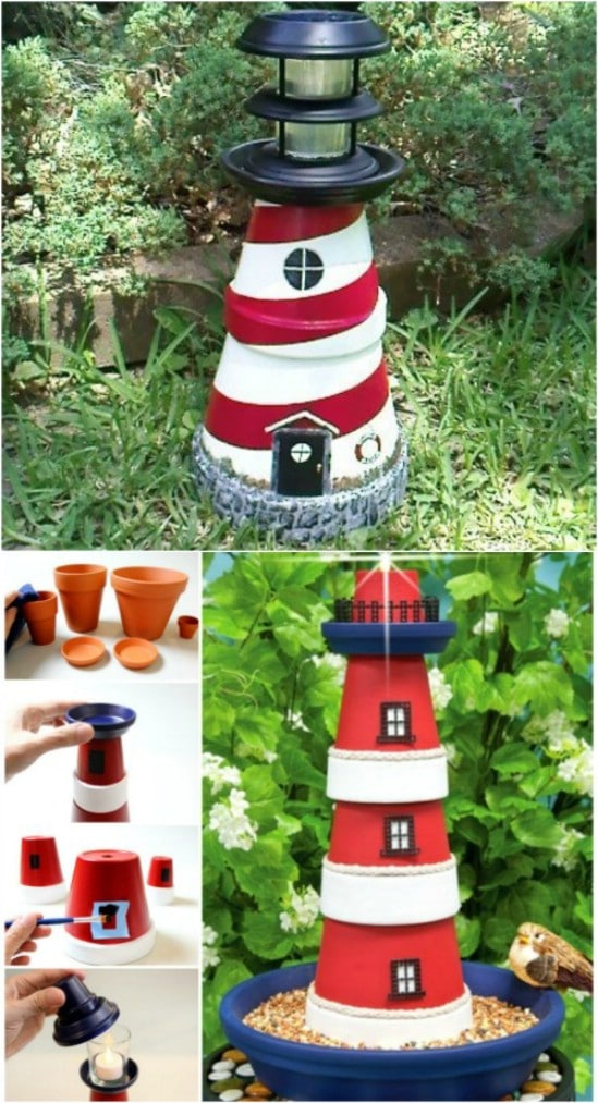 Gorgeous DIY Clay Pot Lighthouse