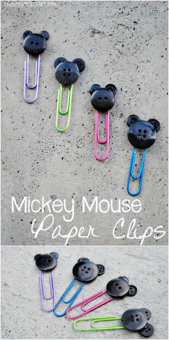 DIY Mickey Mouse Button Paper Clips
