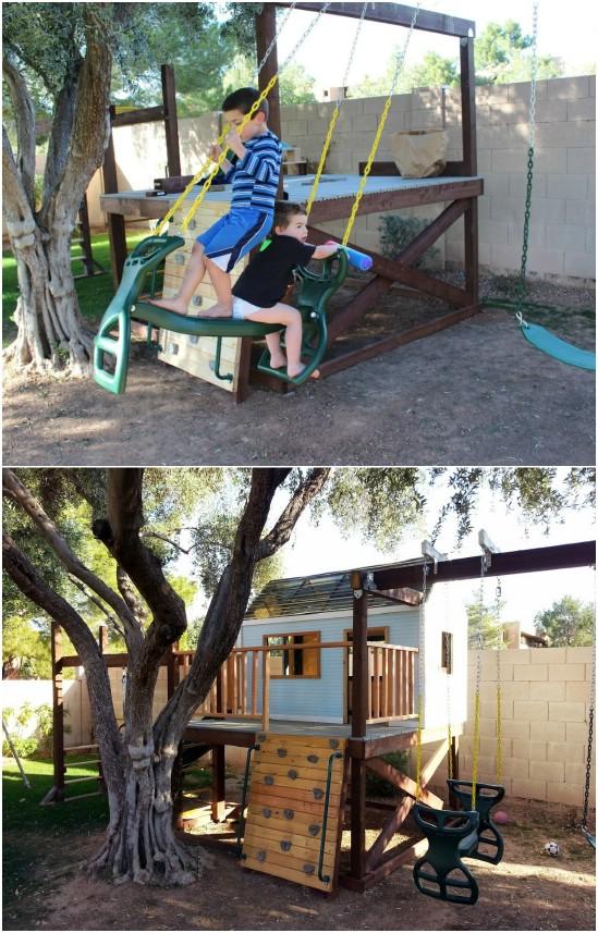 DIY Plywood Deck Swing Set