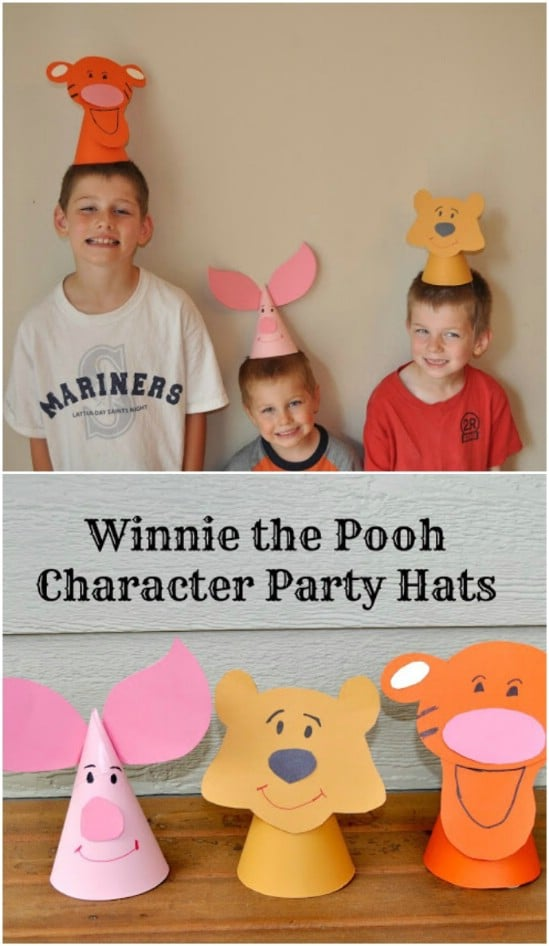 Cute And Easy DIY Winnie The Pooh Paper Hats