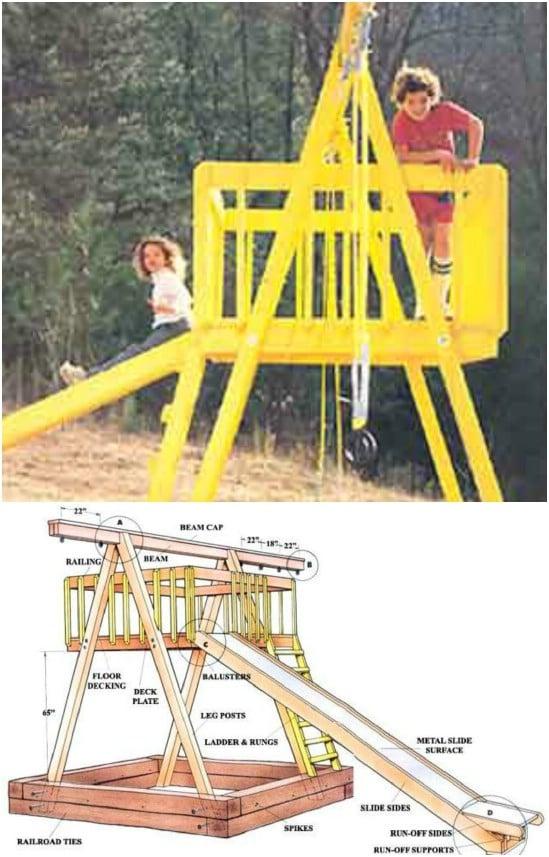 DIY Swing Set With Sandbox