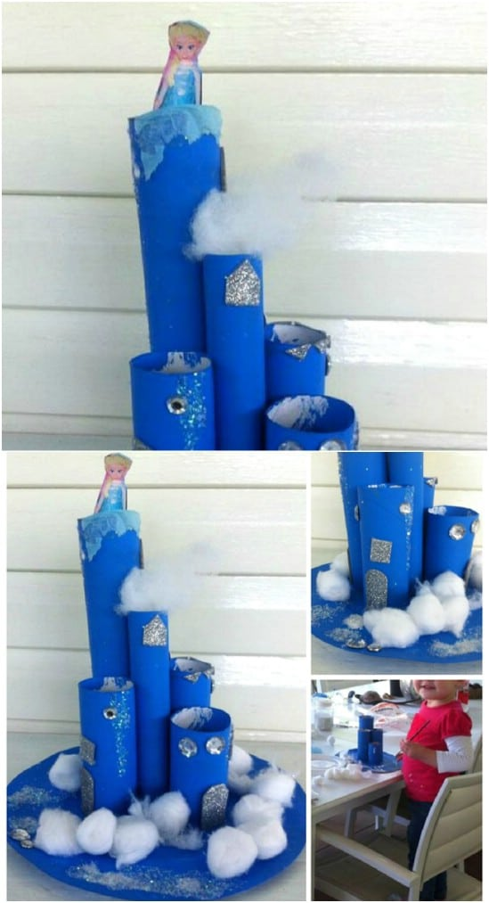Upcycled Cardboard Tube Frozen Castle Craft