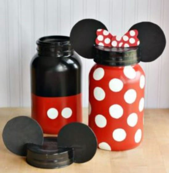 Upcycled Mason Jar Mickey And Minnie Banks