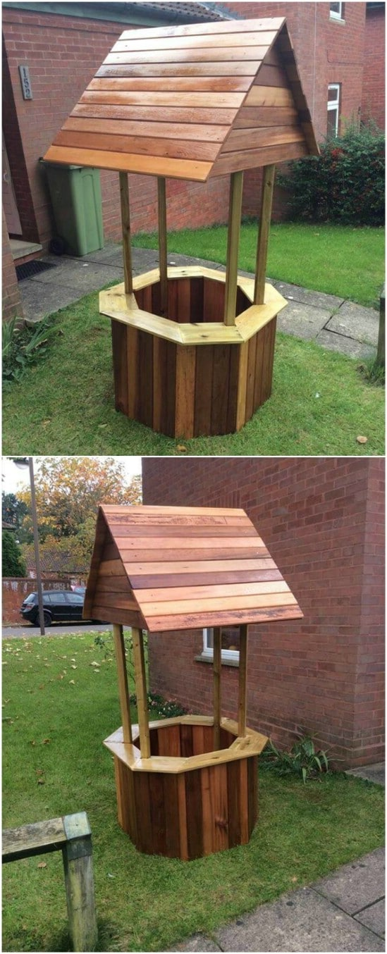 Repurposed Wood Pallet Wishing Well