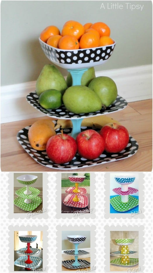 Repurposed Plate Fruit Stand