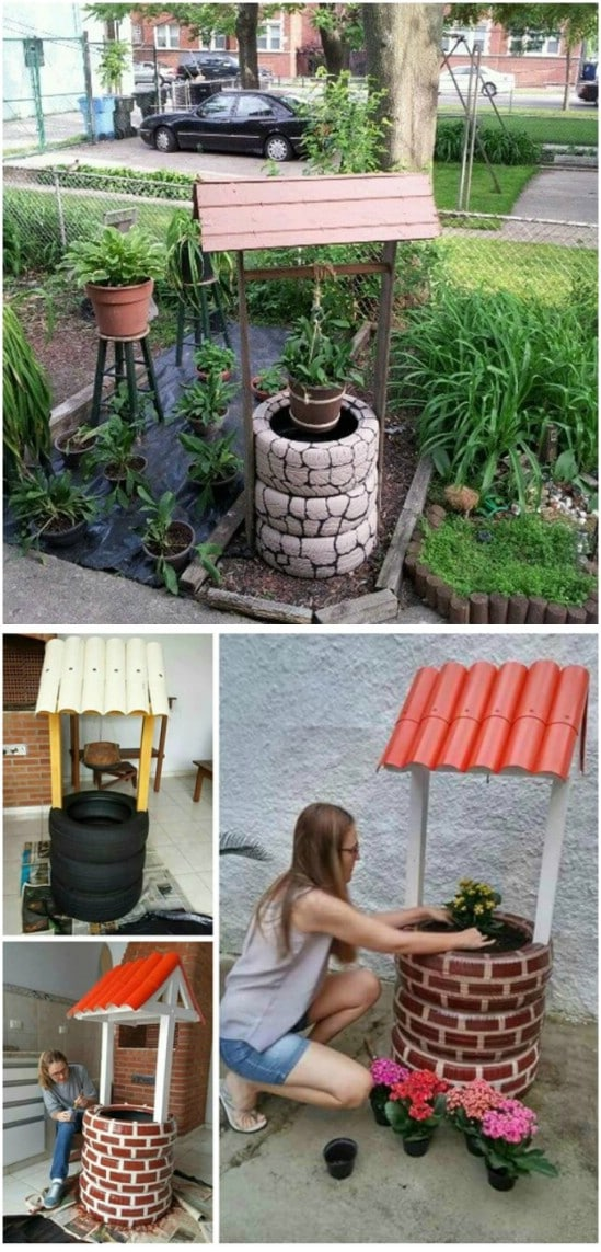 DIY Recycled Tire Wishing Well