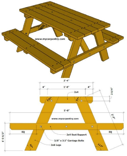 Easy 2X6 Picnic Table