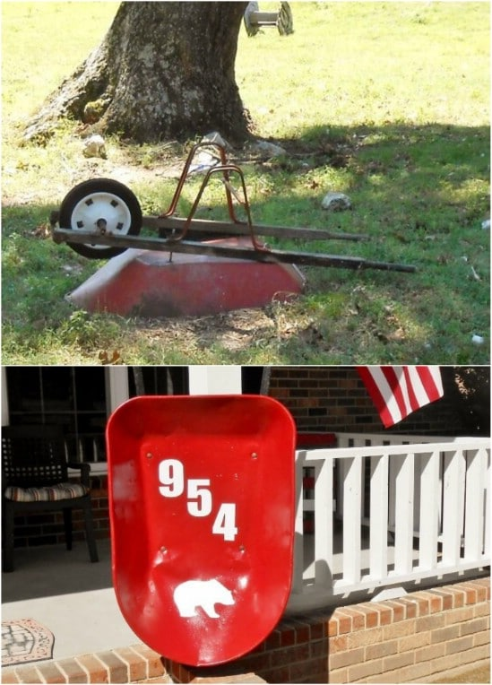 Repurposed Wheelbarrow Address Sign