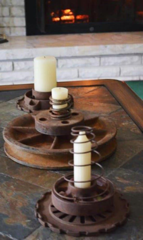 Repurposed Tractor Part Candle Holders