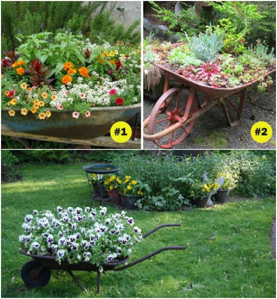 Repurposed Wheelbarrow Planter