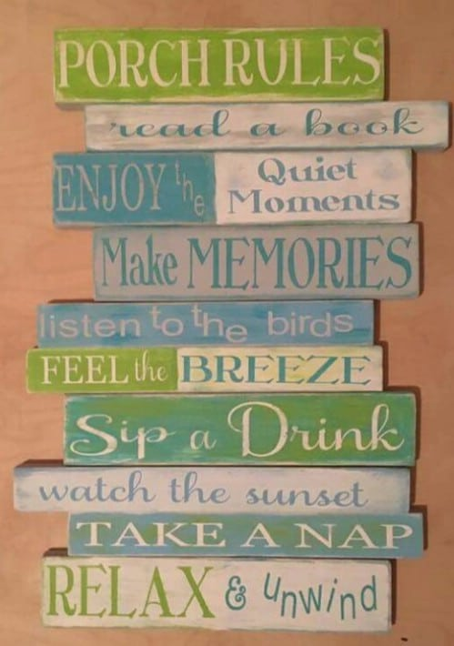 Hand Painted Front Porch Rules Sign