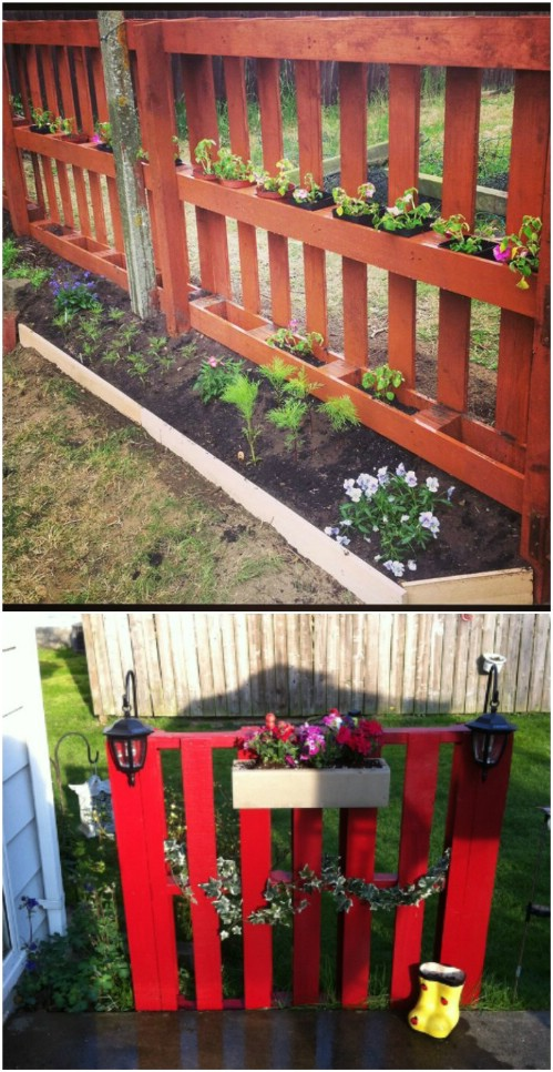 DIY Pallet Garden Accent Fence