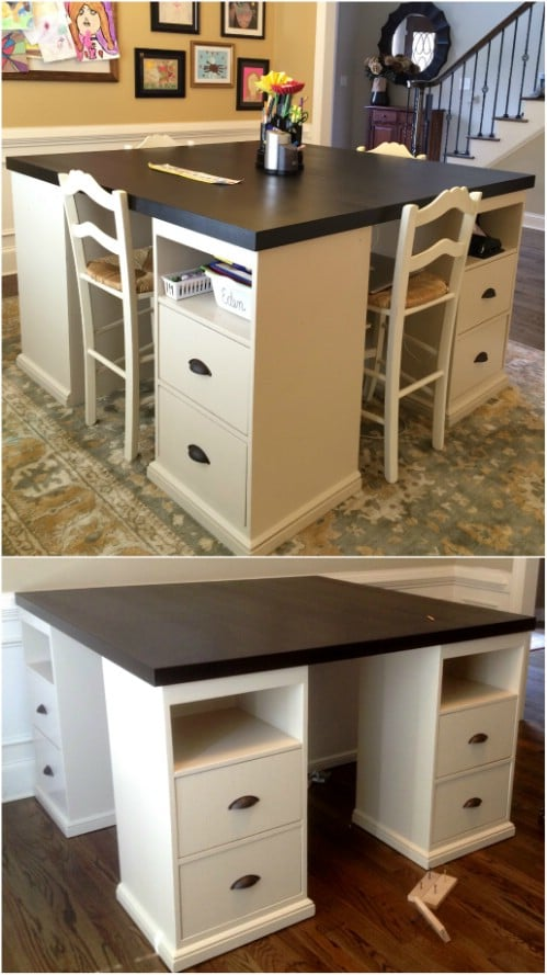 Easy DIY Four Station Craft Desk