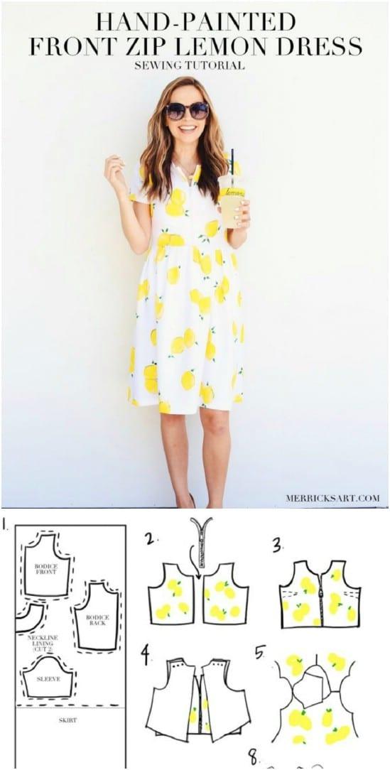 Hand Stamped Front Zipper Lemon Dress