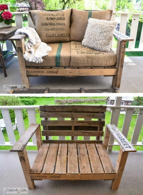 DIY Pallet Wood Chair With Farmhouse Cushions