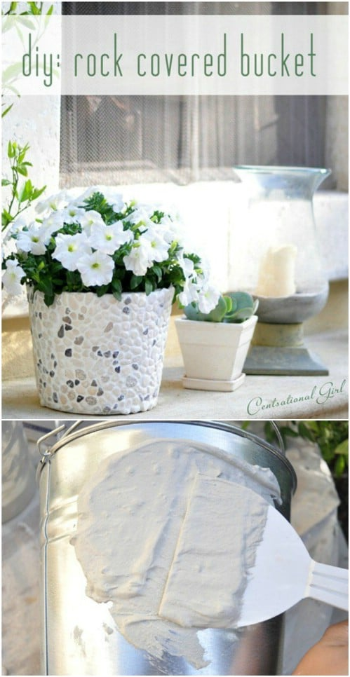 DIY Rock Covered Bucket Planter