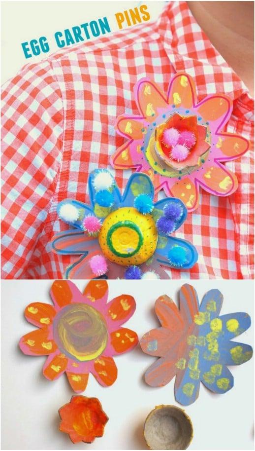 Decorative DIY Egg Carton Flower Pins