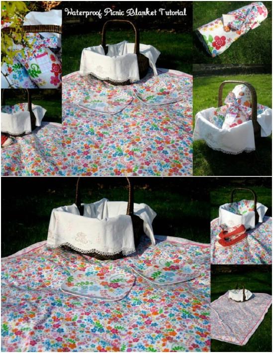 DIY Roll Up Waterproof Picnic Blanket
