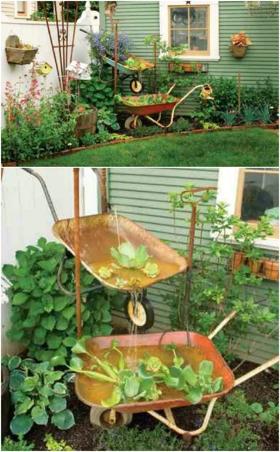 Repurposed Wheelbarrow Rustic Garden Fountain