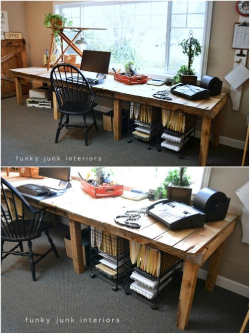 Gorgeous DIY Pallet Farmhouse Crafting Desk