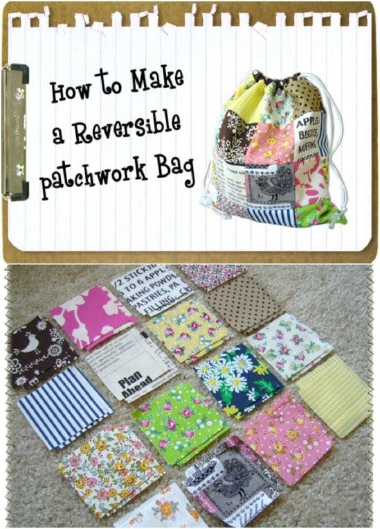 Simple DIY Patchwork Reversible Bag
