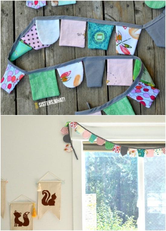 Decorative DIY Scrap Fabric Banner