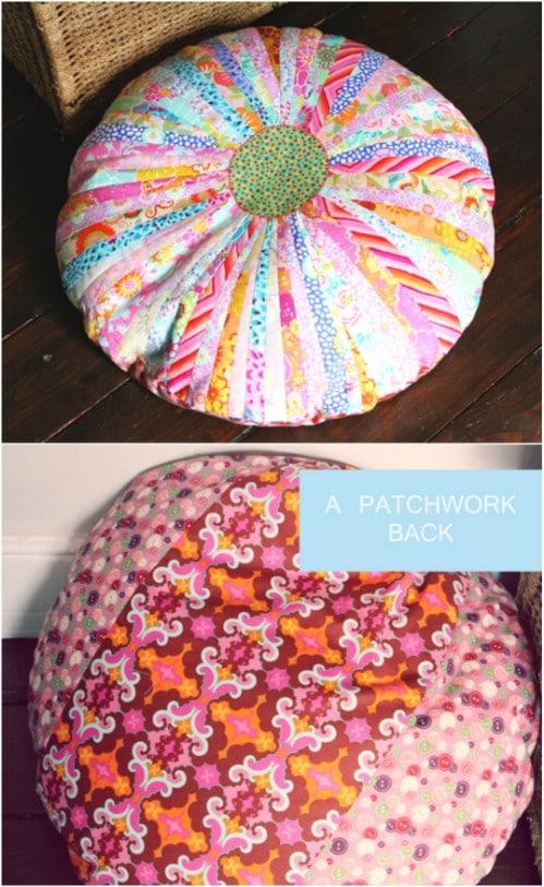 Repurposed Fabric Floor Cushion