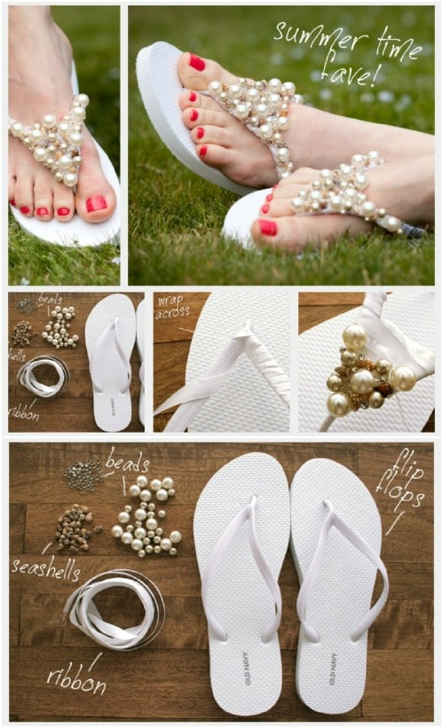 Easy DIY Beaded Flip Flops