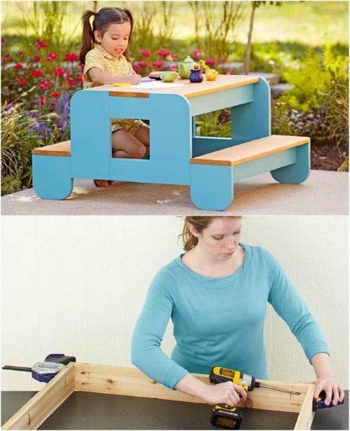 Adorable DIY Toddler Picnic Table
