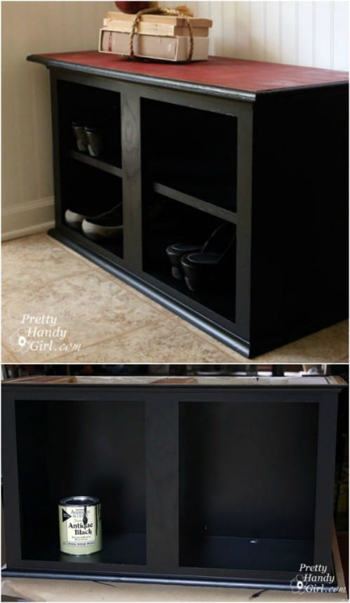 Repurposed Wall Cabinet Shoe Storage Bench & 10 Fabulous Repurposing Ideas For Old Kitchen Cabinets - DIY u0026 Crafts