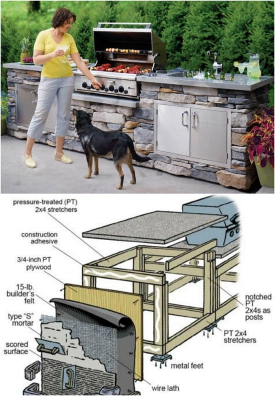 DIY Stone Covered Grill Island