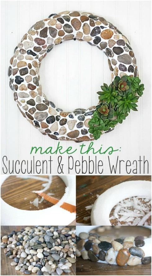 Gorgeous DIY Pebble And Faux Succulent Wreath