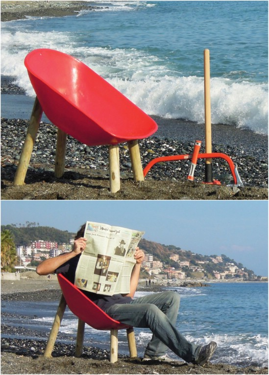 Repurposed Wheelbarrow Chair