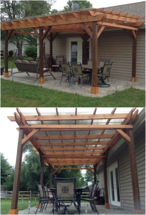 Covered Pergola Plans 12x24' Outside Patio Wood Design Covered Deck DIY - 20 DIY Pergolas With Free Plans That You Can Make This Weekend - DIY