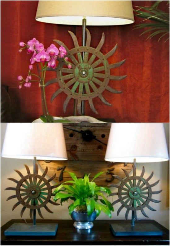 Reclaimed Vintage Hoe Blade Lamps