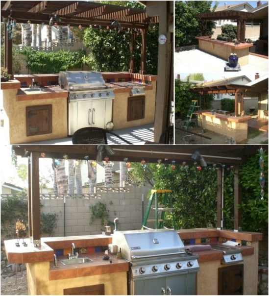 Outdoor Kitchen Bar With Pergola