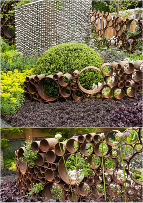 Creative Rusty Cylinder Fence