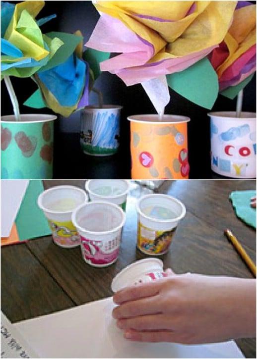 Adorably Easy Yogurt Cup Vases