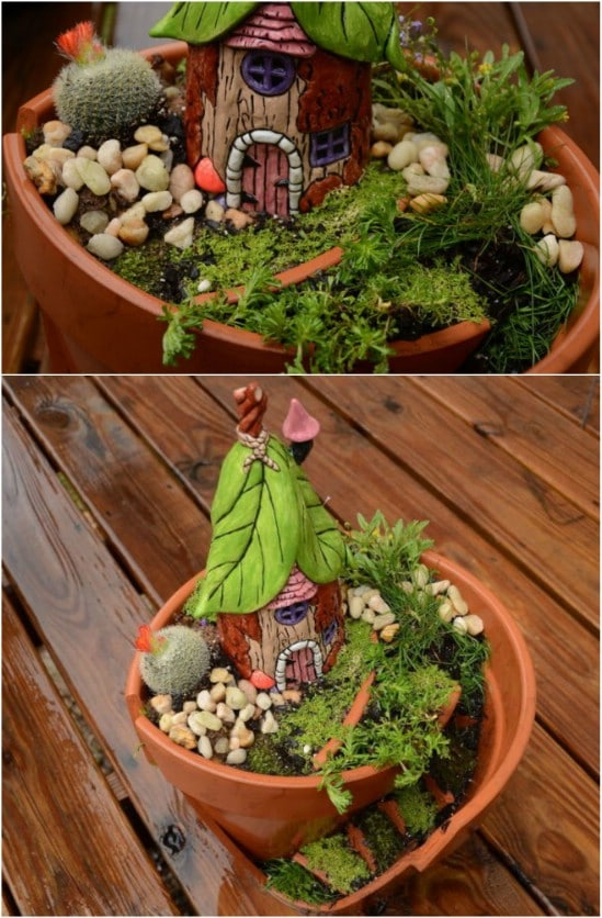 Upcycled Broken Pot Fairy Garden