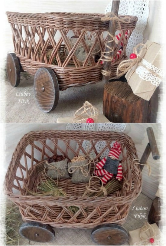 Wheelbarrow Wicker pushcart farmhouse wicker decor
