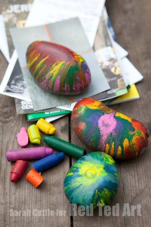 Fun Melted Crayon Rocks