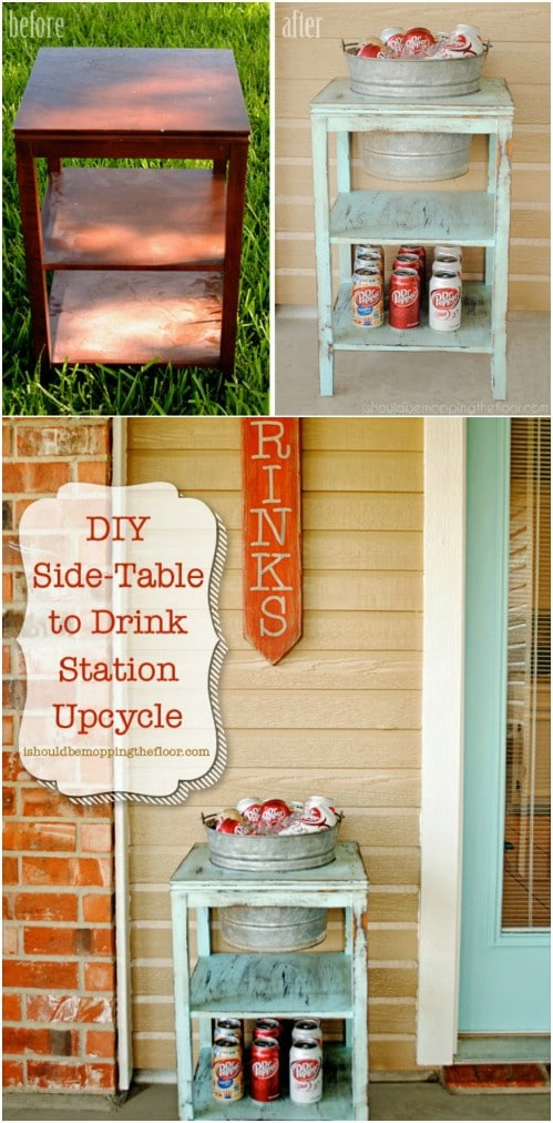 Upcycled Side Table Drink Station