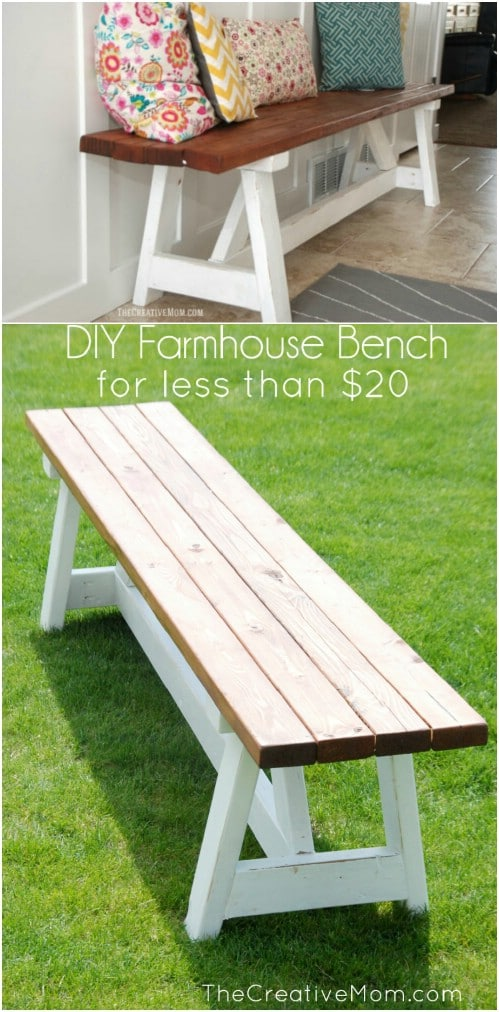 Cheap And Easy DIY Farmhouse Style Bench