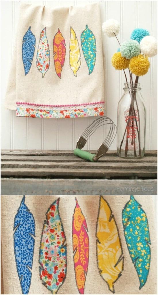 DIY Fabric Feather Dishtowels