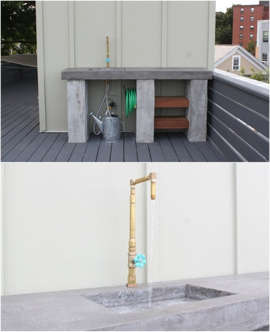 DIY Poured Concrete Outdoor Kitchen Countertops