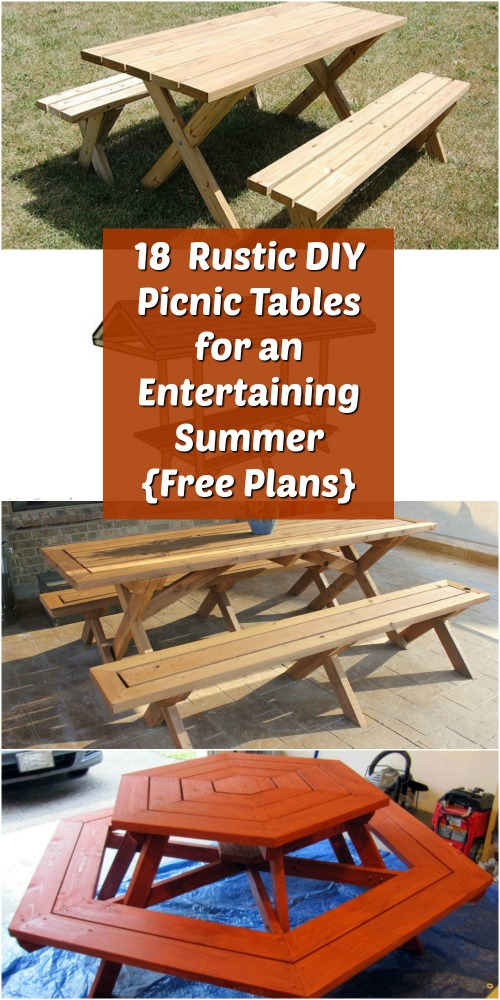 Rustic DIY Picnic Tables For An Entertaining Summer Free Plans - Pentagon picnic table