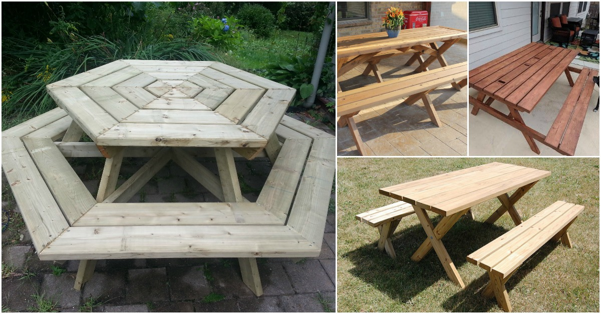 Rustic DIY Picnic Tables For An Entertaining Summer Free Plans - Treated lumber picnic table
