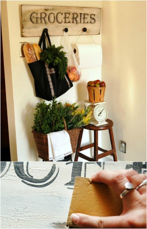 DIY Antique Grocery Sign With Hooks