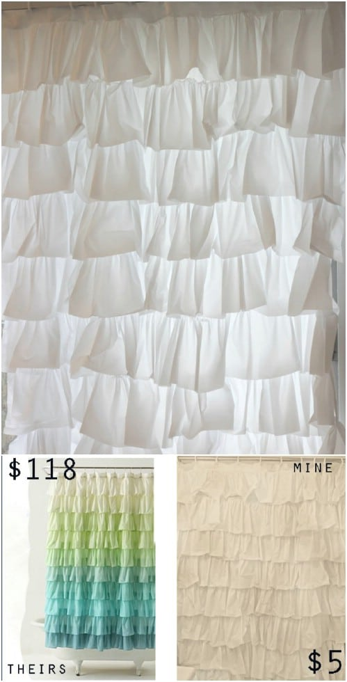 Anthropologie Inspired DIY Ruffled Shower Curtain