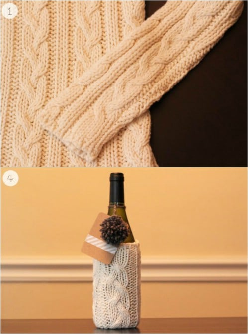 Repurposed Sweater Wine Bottle Cozy